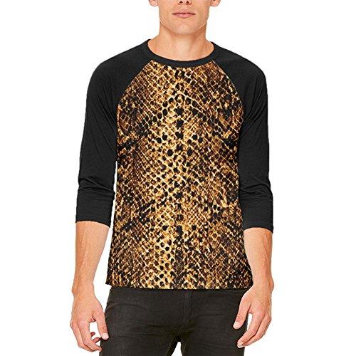Halloween-Wüste braune Schlange Snakeskin Kostüm Herren Raglan T Shirt Multi LG