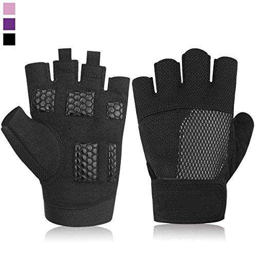 AGLT Frauen-Gewicht-anhebende Handschuhe für Hornhaut- und Blasen-Schutz/Breathable u. Rutschfeste/Gepolsterte Turnhallen-Handschuhe für Powerlifting/Quertraining, Black, XXL