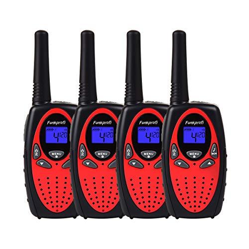 Funkprofi Walkie Talkie Set für Kinder PMR Funkgerät 8 Kanäle 2-Wege Radio Funkhandy Interphone mit LCD Display 4 Stück Rot