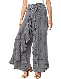 Falda Pantalon Mujer Largo Verano Elegante Flecos Cintura Alta Volantes  Culotte Pantalones Palazzo Strappy Chic Anchos Retro Señora… 6f00436ea61b