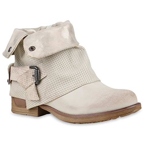 Stiefelparadies Damen Stiefeletten Biker Boots Schnallen Nieten Knöchelhohe Stiefel Leder-Optik Flandell Creme Autol