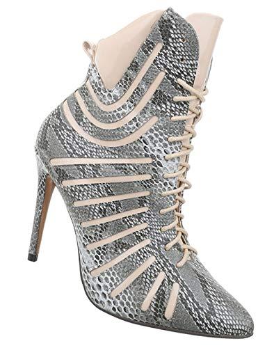 (Damen Schuhe Stiefeletten | Ausgefallene High Heels | Boots Stiletto Spitz | Sexy Stiefel Lack | Partystiefel Club Sexy Korsagen Schnürung | Grau Beige 40)