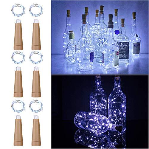 6PCS Korken mit LED Lichterkette Kaltweiß, TINYOUTH 2M/6.5FT 20LED Flaschenlicht Korken, Immer beleuchten, Weinflaschen Korkenlicht Flaschenlicht AAA Batterie für DIY Party Hochzeit Weihnachten -