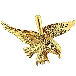 CLEVER SCHMUCK Goldener Anhänger großer Adler 36 x 21 mm fliegend glänzend 333 GOLD 8 KARAT im Etui