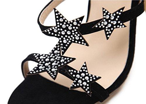 CYGG Sandales à talons hauts pour femmes Ceinture Motif Strass Pentagram Talons Hauts Fine Avec Spectacle Sandales Avec Hauteur (11.5cm) black
