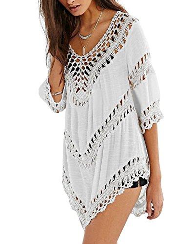 MUXILOVE Damen Lochmuster Tunika Hübsch Günstig Chiffon Bikini Cover Up Crochet Sommerponcho Sommer Bluse Weiß