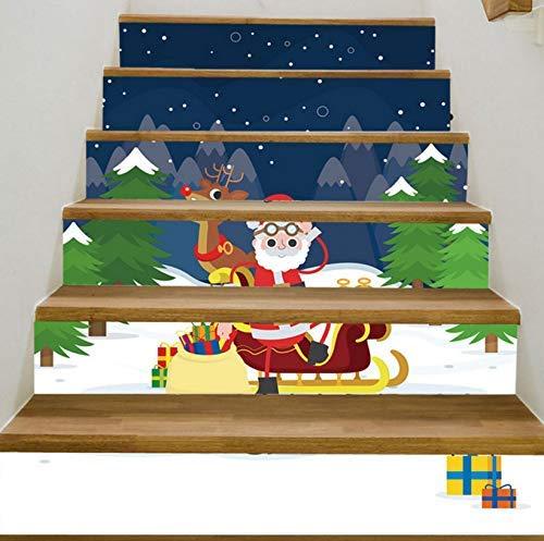 (3D Kreative Treppen Tür Selbstklebende Tür Wandbilder Aufkleber Wand Abziehbild Weihnachten Simulation Wasserdichte Wandaufkleber Dekoration Weihnachtsdekoration Hause 18 X 100 Cm 6 Stück Set / Set ,)