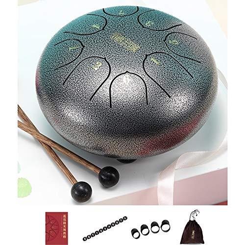 AMZ BCS 6 Zoll Stahl Zunge Drum Set, mit Finger Sleeve/Trommel Mallets/Tragetasche/Ersatz-Aufkleber/Tutorial, für Meditation Yoga Sound Healing -