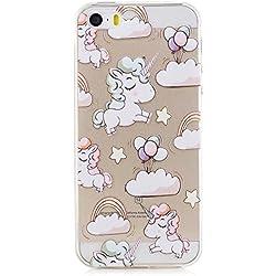 iPhone 5 Funda, CXTcase Suave Silicona TPU Gel Transparente Goma Bumper Cover Case Anti-rasguños Apple iPhone 5s SE 5 Carcasa Unicornio Blanda Case