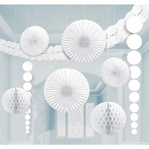 Balles en nid d'abeille kit décoration guirlande boules de papier lampions éventail rosace blanc Balles pompons pour decorer déco d'ambiance suspension pour l'intérieur Boules en papier décoration de plafond ornements ronds en papier à suspendre