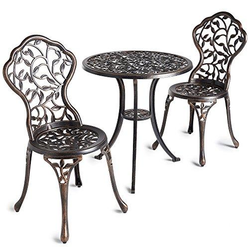 vonhaus cast aluminium bistro set outdoors table 2 chairs set of