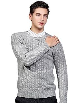 Jitong Uomo Maglia a Cavo Maglione a Tinta Unita Maniche Lunghe Sweater Pullover a Girocollo