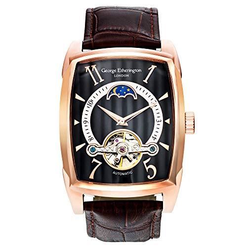 George Etherington Farringdon Herren Automatik-Uhr Armbanduhr - Analoge Selbstaufziehende Mechanische Uhr - Rechteckiges Gehäuse & Echtleder Armband - Mondphase, 3ATM Wasserdicht...