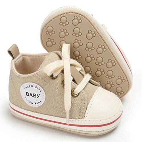Igemy 1 Paar Kleinkind Mädchen Jungen Krippe Neugeborene Soft Sole Anti-Rutsch Baby Segeltuch Schuhe Turnschuhe Beige