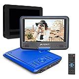 Pumpkin DVD Portable Voiture CD MP3 soutient USB SD avec Ecran Orientable 5 Heures Batterie Rechargeable Intégré 3m AC DC Adaptateur et Etui de Montage Appuie-tête(Bleu)