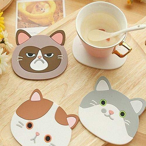 Jeffyo - Posavasos silicona diseño gato dibujos animados