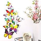 Imbry 72 Stück 3D Schmetterling Aufkleber Wandsticker Wandtattoo Wanddeko für Wohnung, Raumdekoration Klebepunkten+ Magnet (12 Blau + 12 Colour + 12 Grün + 12Gelb + 12 Rosa + 12 Rot) (Schmetterling) - 8
