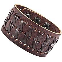 Pulsera de cuero marrón impresionante Gipsy Kings estilo brazalete de la manera pulsera (22 cm, de tamaño variable)