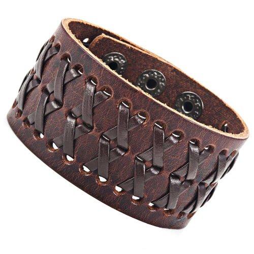 Atemberaubendes herren braunes Gipsy Kings Stil Manschette Leder Armband Armreif Armspange Mode (Größe verstellbar) (Manschette Mode Stil,)