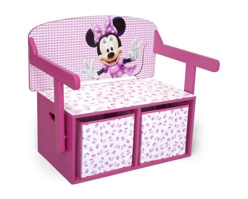 Delta Children- Minnie Mouse Banco de Almacenamiento y Escritorio, Multicolor, 65.5 x 38.4 x 9.1 (TB84865MN)