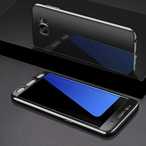 Galaxy S7 Hülle mit Panzerglas,Ukayfe Überzug Spiegel Hardcase 2 in 1 360 Full Body Schutz Schutzhülle Anti-Kratzer Hart PC Skin Rückseite Bumper Handyhülle für Samsung Galaxy S7, Schwarz