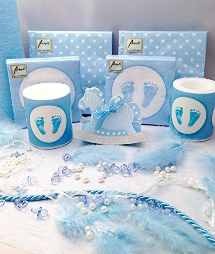 20 Personen Dekoset zur Taufe Blau Baby Junge Geburt Shower Tischdeko Dekoration Feier Geburtstag Komplettset