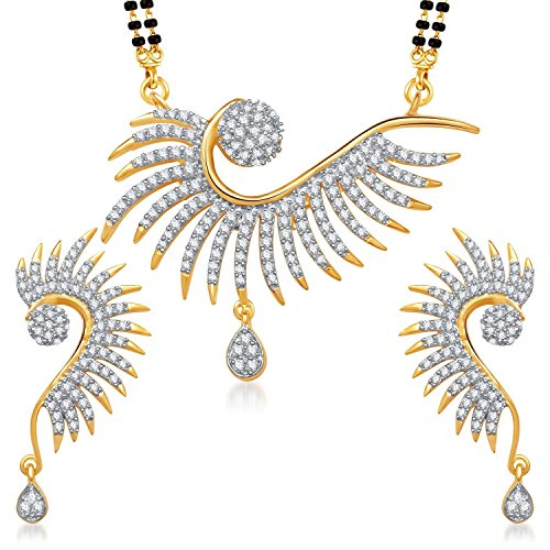 YouBella Jewellery American Diamond Gold Plated Pendant Mangalsutra Set with Chain and Earrings for Women