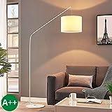 Lampada da terra 'Viskan' (Giovanile) colore Bianco, in Tessuto ad es. Soggiorno & Sala da pranzo (1 luce, E27, A++) di Lindby | lampada ad arco, lampada da pavimento