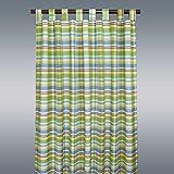 SeGaTeX home fashion Landhaus-Vorhang Drive Karo grün Deko-Schlaufenschal mit 8 Schlaufen Übergardine