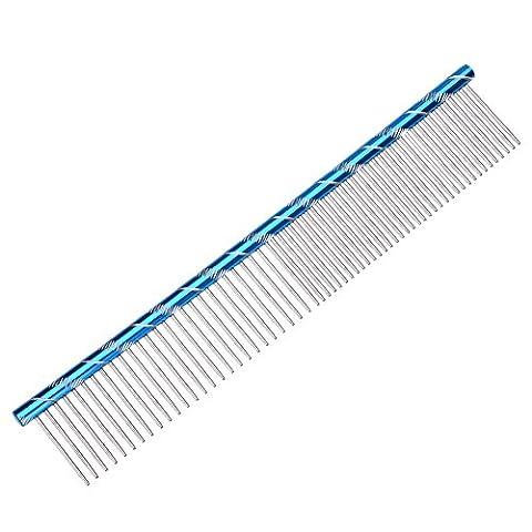 Yunt Peigne de Toilettage en Acier Inox pour Chien Chat Simple Range 19cm (Bleu)