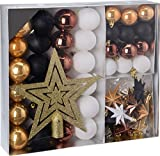 Weihnachtsbaumschmuck Set - 45 teilig in Goldtönen (Kupfer, Schwarz, Gold etc.) - 36 Kugeln, Weihnachtsbumspitze, Dekosterne und Kette