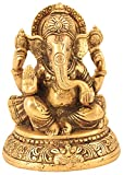 Idol Collections Handmade Indian Brass Religious Items Indian Decor Ganesha Statue Hindu Temple Puja 5"