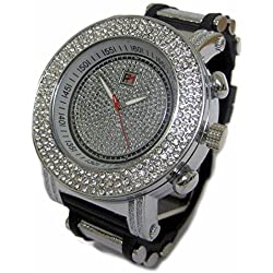 Men's 3 Row of Rocks Silver Plated Rubber & Metal Strap HipHop Bling Watch