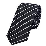 DonDon Herren Krawatte gestreift 6 cm schwarz