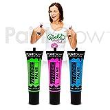 PaintGlow UV Neon-Stoffmalfarbe, (3erPackung) Festival-Textilfarbe, für Junggesellen- und Jungesellinnenabschiede