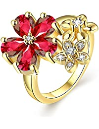 Via Mazzini 24K Gold Plated Exclusive Red Top Quality Swiss Zirconia Crystal Flower Ring For Women And Girls (...