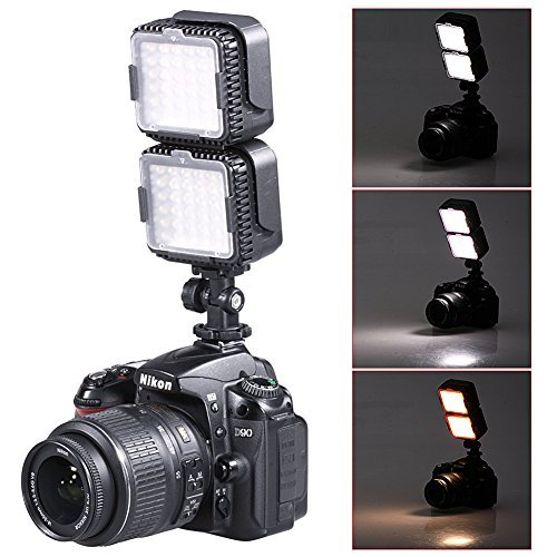Neewer® CN-LUX360 5400K Luce LED Regolabile per Canon Nikon Fotocamera DV Videocamera (2pz)