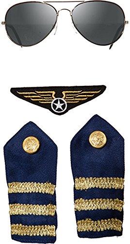 Pilot Piloten Flieger Set 4 teilig Brille Schulterklappen und (Pilot Zubehör Kostüme)