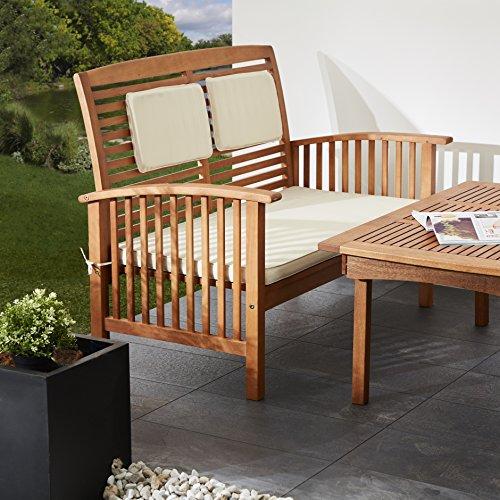 Ultranatura Loungebank 2-Sitzer, Canberra Serie – Edles & Hochwertiges Eukalyptusholz FSC zertifiziert – 119 cm x 71 cm x 89 cm - 5
