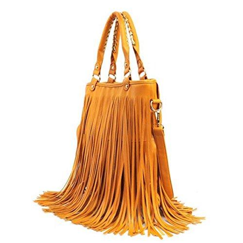 Damenhandtasche Schultertasche Lässig Quaste Big Bag Yellow