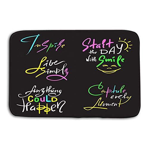 Uosliks Kitchen Floor Bath Entrance Door Mats rug Set Inspire Motivational Quotes Hand Drawn Beautiful Calligraphy Signs Print Inspirational Bag Cups Card Non Slip Bathroom Mats 23.6'x 15.7'