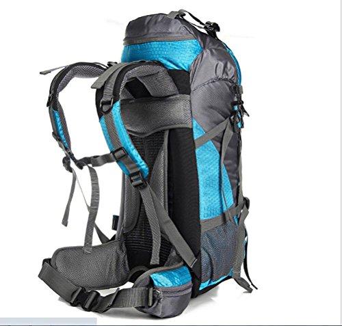 LQABW Outdoor Bergsteigen Tasche Männlichen Damen Reise Großes Kapazitäts Wandern Camping Sport Leichtes Nylon Wasserdichte Wanderrucksack 75L Blue