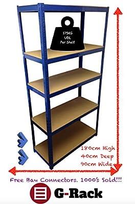 180cm x 90cm x 40cm, 5 Tier (175KG Per Shelf), 875KG Capacity Garage Shed Storage Shelving Units_P