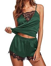 QinMM Conjunto de camisón Ropa de Noche de Encaje de Mujer, Pijamas Ropa de Dormir