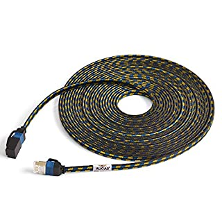 CAT7 Weave Shielded Ethernet Kabel Flach Patchkabel FTP Patchkabel LSOH Engineering Grade Netzwerkkabel (0.5m, Black1)