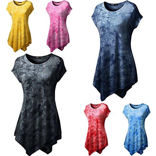 Smile YKK T-shirt Imprimé Femme Chemise Top Manche Courte Blouse Haut Casual Eté Amincissant Bleu Foncé