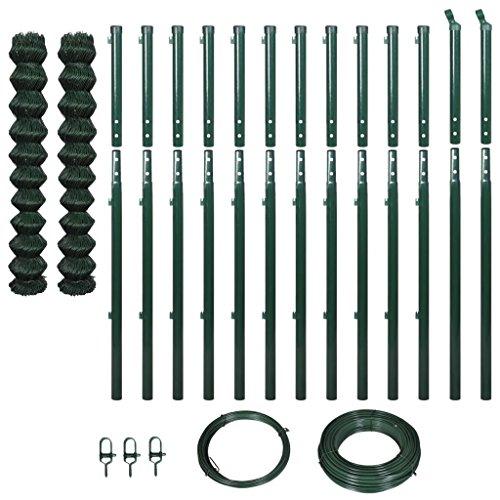 Lingjiushopping clôture de Tissu Met š ¢ Lica avec poteaux 1,97 x 25 m Vert Clôture de Fil : Tama ? ou de la clôture : 1,97 x 25 m (Hauteur x Longueur) (2 Rouleaux, Chaque de 1,97 x 12,5 m)