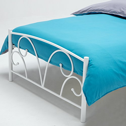 mecor Metal 3FT Single Bed Frame Solid Bedstead Base with 2 Hearts Headboard for Kids Adults (White)