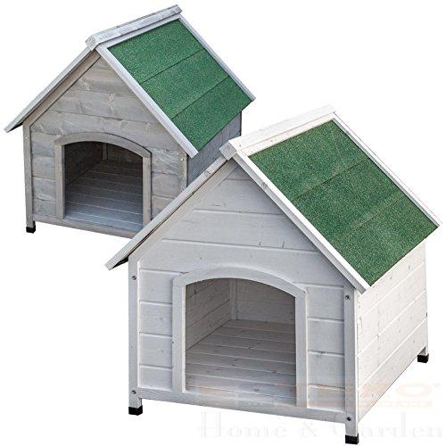 ESTEXO XXL Hundehütte Weiß oder Grau Hundehaus Hund Haus massivholz wetterfest (Weiß)