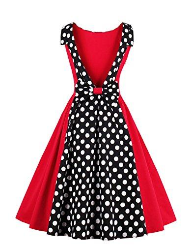 VKStar® Vintage 1950s Tiefer V-Ausschnitt Rückenfrei Abendkleid mit Schleife Cocktailkleid Rockabilly Swing Kleid Rot